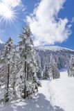 Another sunny days. Sunny spring days at Polish mountains. Trekking on this day was great, on the path was noone only my, snow and mountains stock image