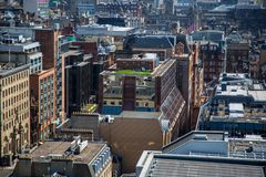 Another unusual view over Glasgow City Centre from 17 floors above. A high level view of Glasgow seen from the roof of the Pinnacle building on Bothwell Street Royalty Free Stock Images