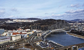 Another view of bridge,road and railway tracks in one shot Royalty Free Stock Photos