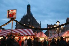 Another view of the Christmas market Royalty Free Stock Image