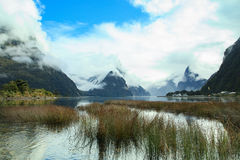 Another view point of milford sound in fjord land national park Royalty Free Stock Photo
