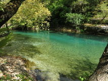 Another view of voidomatis river in zagorohoria. Voidomatis,`` Greek: Βοϊδομάτης `` is a river in the Ioannina regional unit in northwestern Greece Royalty Free Stock Photography