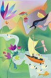 Another world. Colorfull Illustration adout fairytale in psyhedelic style royalty free illustration