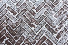 Anow na textura diagonal do fundo das pedras de pavimentação Fotos de Stock