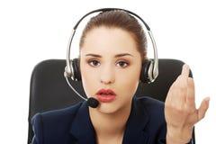 Anoyed support phone operator Royalty Free Stock Photos