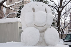 Anpaman (日本芳香树脂字符)在札幌雪节日2013年 库存照片