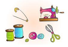 Anpassa sax för symaskin för handarbete för formgivare för hjälpmedelsömmerskamode sömlös, tråd, herrekiperingsartiklarm royaltyfri illustrationer