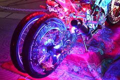Customized motorcycle rear wheel at Spades Auto Motor Show