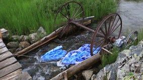 Anpassning för tvättande linne i en bergflod stock video