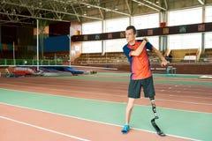 Anpassungsfähiger Athlet Ready für die Ausbildung stockbild