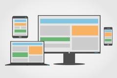 Anpassungsfähiger und entgegenkommender Webdesignikonensatz Stockbild
