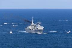 Anreicherungs-?lerschiff Kantabriens A15 betrieben von der spanischen Marine, die Sydney Harbor anmeldet stockfotos
