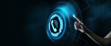 Anruf-jetzt Geschäftskommunikations-Support Center-Kundendienst-Technologie-Konzept stockfoto