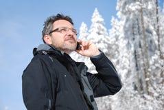 Anrufen des Bergsteigers Stockfotos
