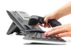 Anrufen des Kunden Stockfoto