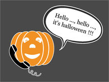 Anrufen von Halloween-Kürbis Lizenzfreies Stockfoto