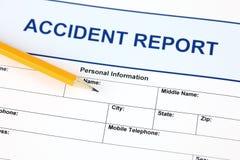 Ansökningsblankett för olycksrapport Arkivbild