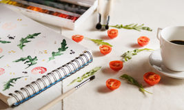 Ans-arugula för körsbärsröda tomater Royaltyfria Foton