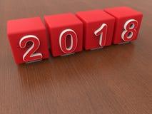 2018 ans - cubes rouges illustration de vecteur