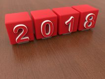 2018 ans - cubes rouges Images stock