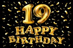 19 ans d'anniversaire avec de l'or ont stylisé le nombre et les confettis Applicable pour la brochure, l'insecte, les affiches, l illustration de vecteur