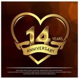 14 ans d'anniversaire d'or conception de calibre d'anniversaire pour le Web, jeu, affiche cr?ative, livret, tract, insecte, magaz illustration de vecteur