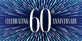 60 ans d'anniversaire d'icône de vecteur, bannière Photographie stock libre de droits