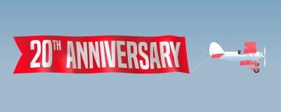20 ans d'anniversaire d'illustration de vecteur, bannière, insecte Photo libre de droits