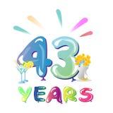 43 ans d'anniversaire de ballons de célébration illustration stock