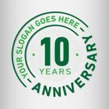 10 ans d'anniversaire de célébration de calibre de conception Vecteur et illustration d'anniversaire Dix ans de logo illustration stock