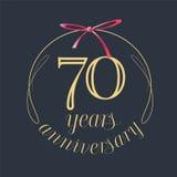 70 ans d'anniversaire de célébration d'icône de vecteur, logo Image stock