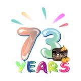 73 ans d'anniversaire de célébration de carte de voeux Photo stock