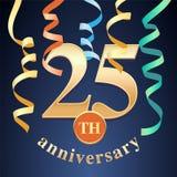 25 ans d'anniversaire de célébration d'icône de vecteur, logo illustration stock