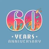 60 ans d'anniversaire de célébration d'icône de vecteur, logo Photographie stock