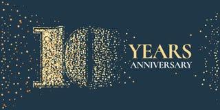 10 ans d'anniversaire de célébration d'icône de vecteur, logo illustration stock