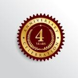 4 ans d'anniversaire de célébration de logo d'or d'insigne illustration de vecteur