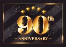 90 ans d'anniversaire de célébration de Logotype de vecteur illustration stock