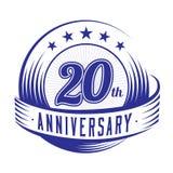 20 ans d'anniversaire de calibre de conception 20ème anniversaire célébrant la conception de logo logo 20years illustration libre de droits