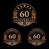 60 ans d'anniversaire de calibre de conception Vecteur et illustration d'anniversaire soixantième logo illustration de vecteur