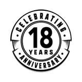 18 ans d'anniversaire de calibre de logo 18èmes vecteur et illustration illustration de vecteur