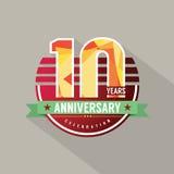 10 ans d'anniversaire de conception de célébration Images stock