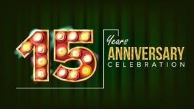 15 ans d'anniversaire de vecteur de bannière Quinze, quinzième célébration Nombre de lampes à lueur Pour la partie, bannière, ins Photos libres de droits