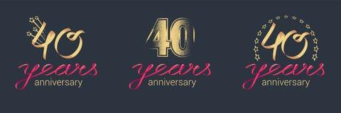 40 ans d'anniversaire d'icône de vecteur, ensemble de logo illustration de vecteur