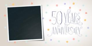 50 ans d'anniversaire d'icône de vecteur, logo élément de conception de calibre illustration libre de droits