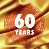60 ans d'anniversaire d'icône de vecteur, logo Image libre de droits