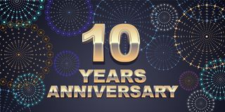 10 ans d'anniversaire d'icône de vecteur, logo Photographie stock libre de droits