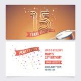 15 ans d'anniversaire invitent l'illustration de vecteur Élément de conception illustration stock