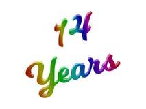 14 ans d'anniversaire, les vacances 3D calligraphique ont rendu l'illustration des textes colorée avec le gradient d'arc-en-ciel  illustration libre de droits