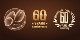 60 ans d'ensemble d'anniversaire de logo de vecteur, icône, nombre Photo libre de droits