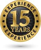 15 ans d'expérience de label d'or, vecteur illustration libre de droits